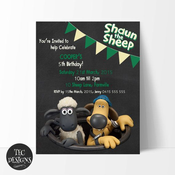 shaun the sheep birthday invitation edit and print by