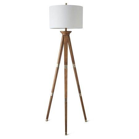 Oak Wood Tripod Floor Lamp Includes Cfl Bulb Threshold Target