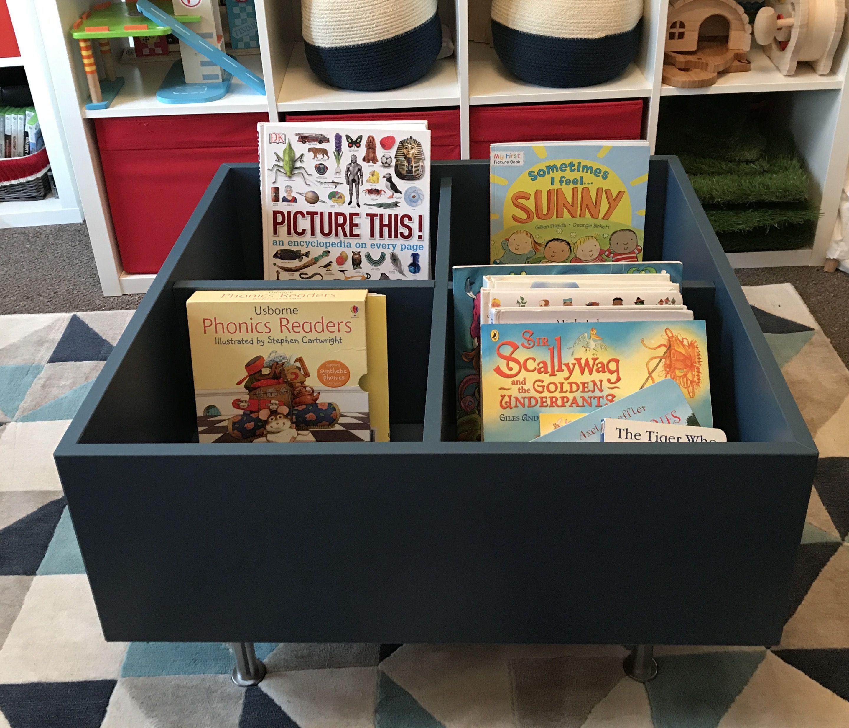DIY Kids Book Bin Storage, IKEA Eket Shelf Put On Top Of A Piece Of