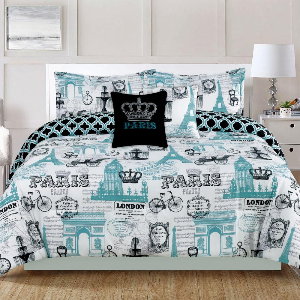 Bedding Twin 4 Piece Girls Comforter Bed Set, Paris Eiffel Tower London, Teal Blue - Walmart.com
