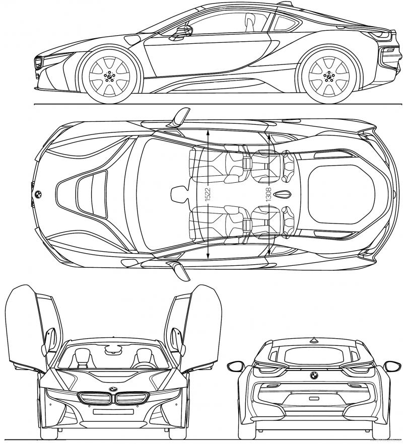 Чертеж BMW i8 | Автомобильные чертежи, Масштабные модели ...