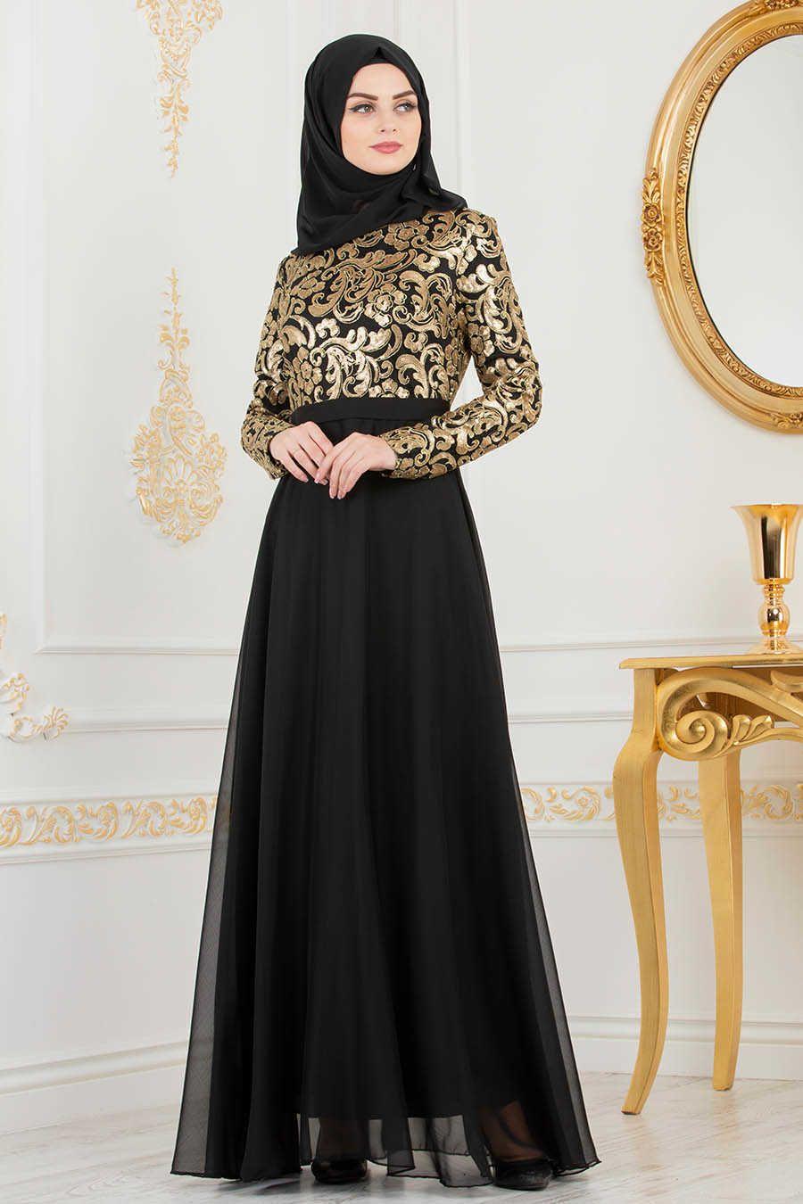 Neva Style Black Hijab Evening Dress 81620s Gaya Berpakaian Mode Wanita Gaun Hitam