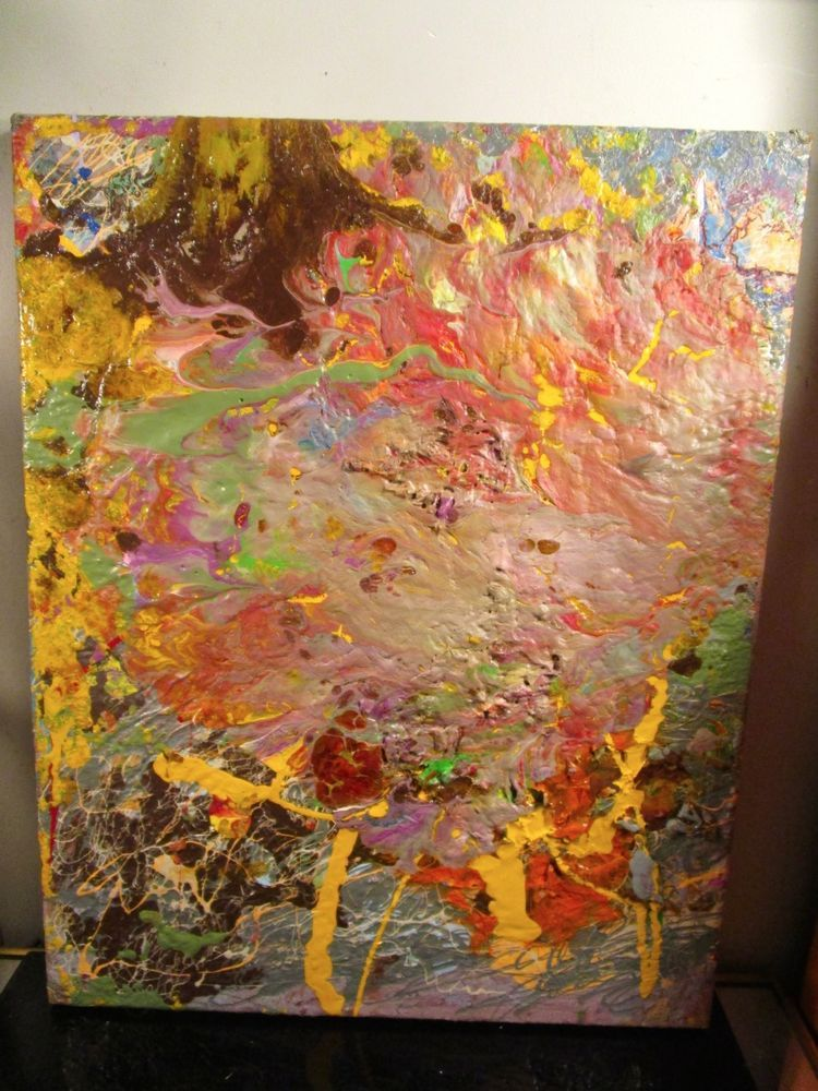 original abstract canvas painting signed by musk yai 16x20 ready to hang #Abstract