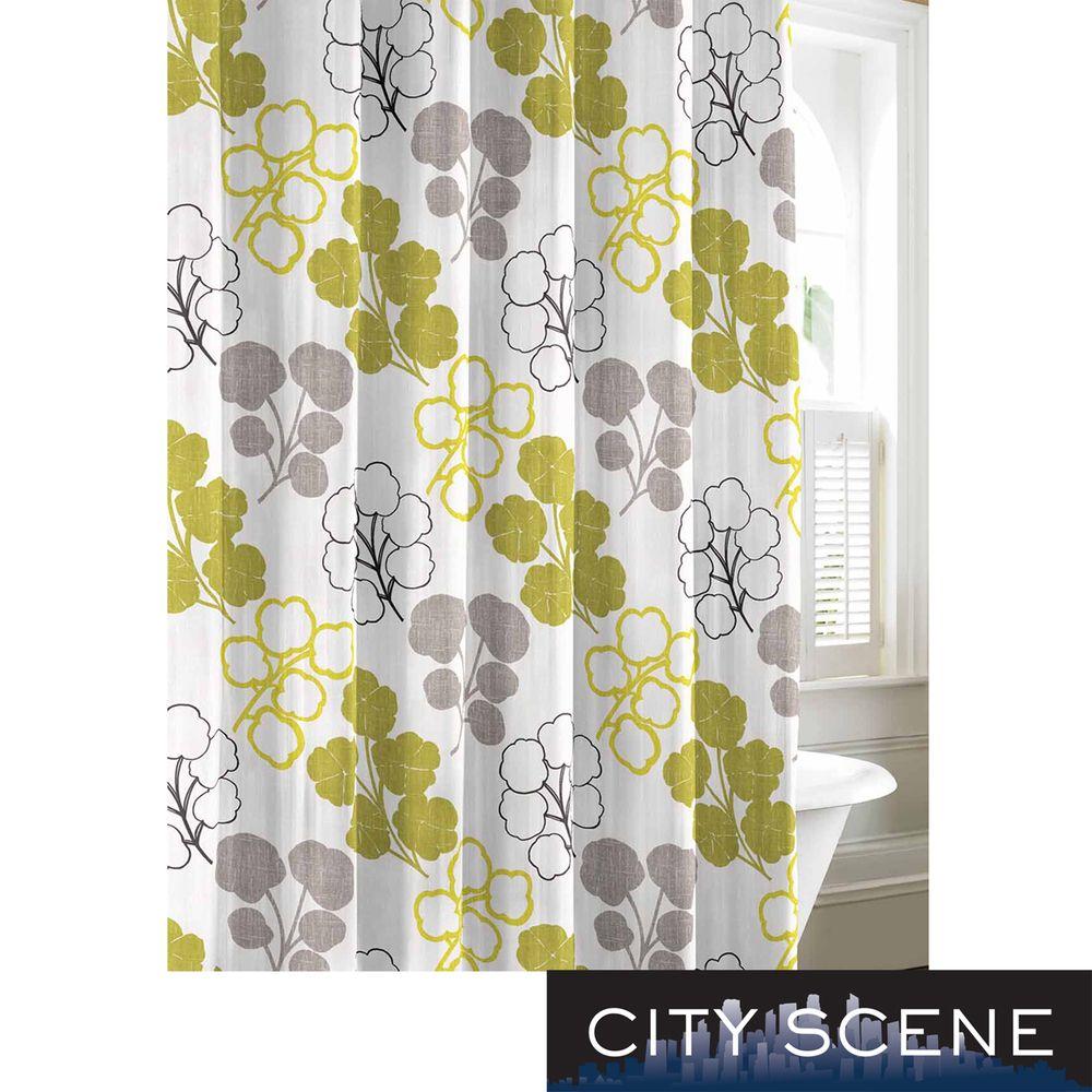 City Scene Pressed Flower Cotton Shower Curtain | Overstock.com ...
