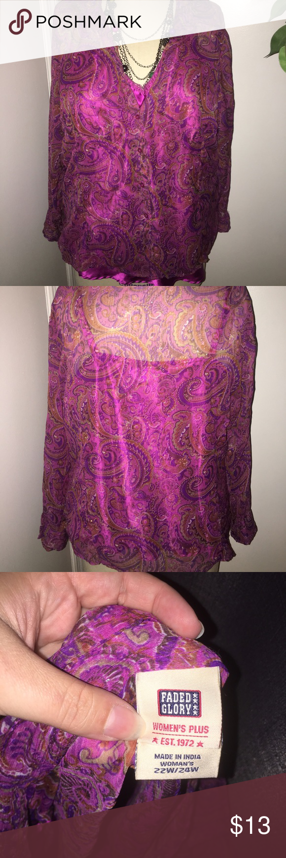 Paisley button down Paisley button down shirt with silk cami under shirt, so pretty! Excellent condition! Faded Glory Tops Button Down Shirts