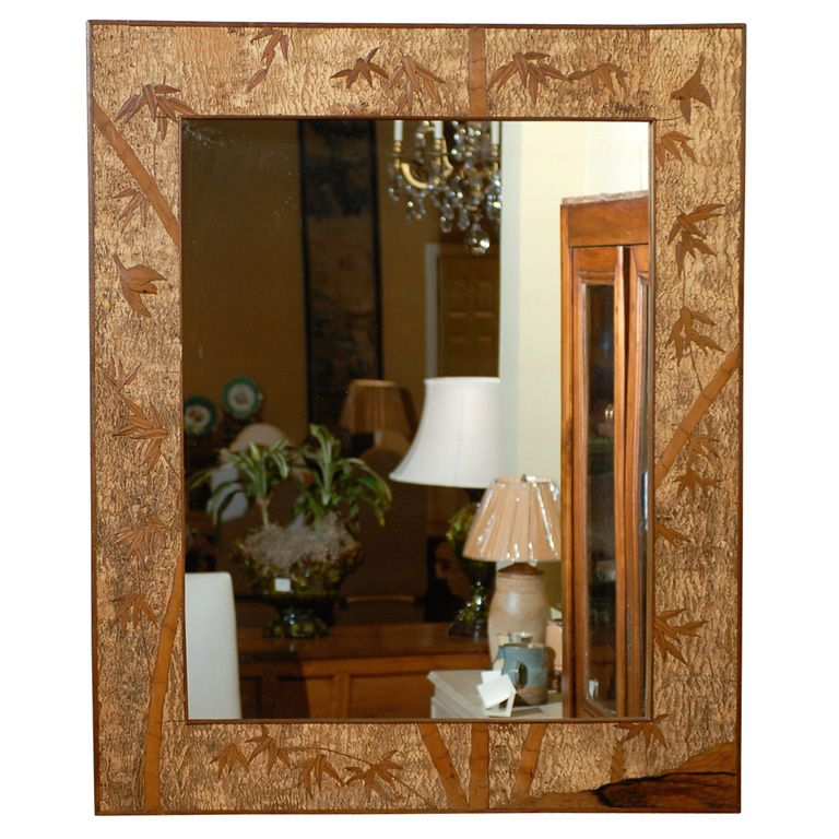 Vintage English mirror made of cork and wood, with bamboo landscape scene