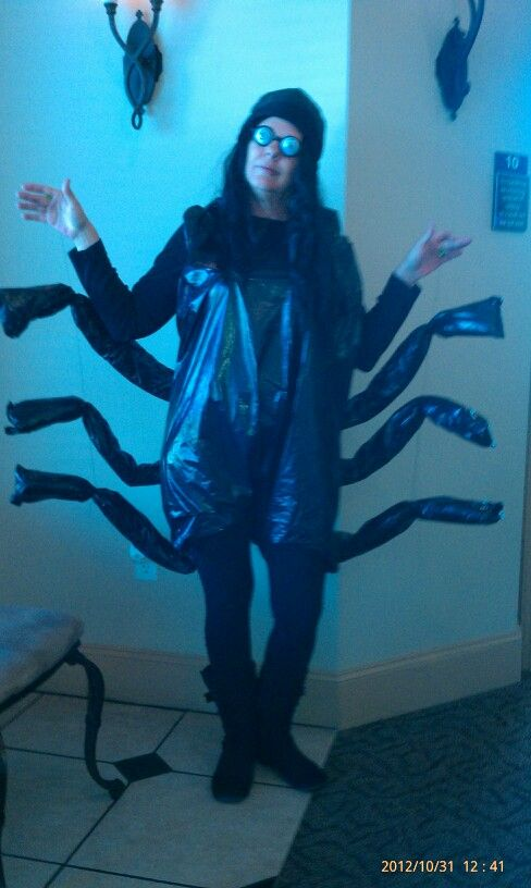 Crazy Spider Costume made with black trash bags Fun Fun