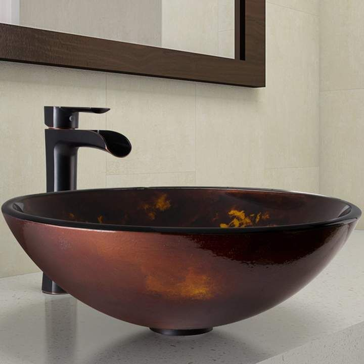 Tempered Glass Circular Vessel Bathroom Sink With Faucet In 2019
