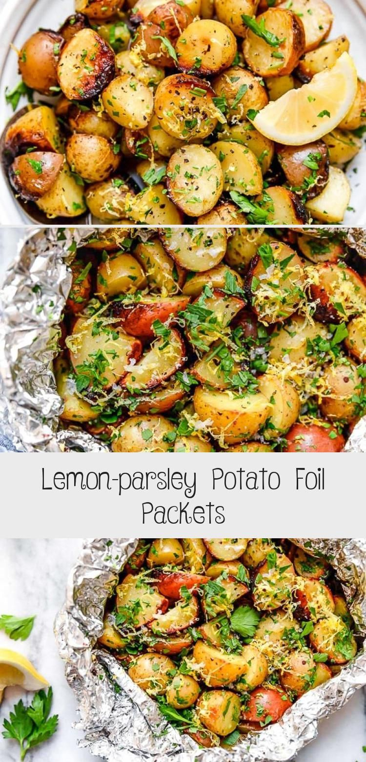 Lemon-parsley Potato Foil Packets - Healthy Recipes -  Lemon-Parsley Potato Foil Packets can be grilled or baked in the oven! A delicious side dish, and t - #Foil #foilpacketchicken #healthy #lemon #Lemonparsley #packets #parsley #potato #recipes