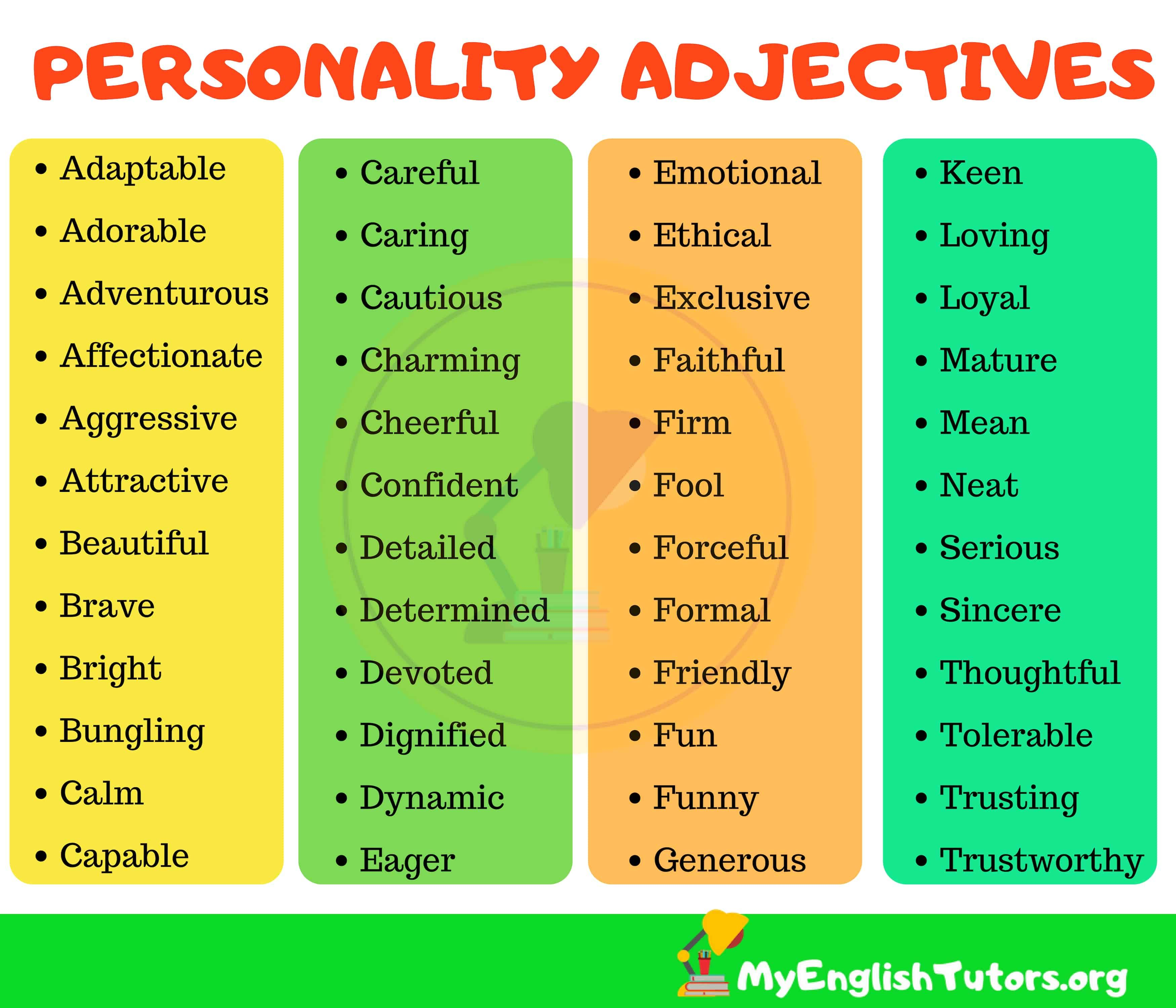 List Of 150 Useful Personality Adjectives In English