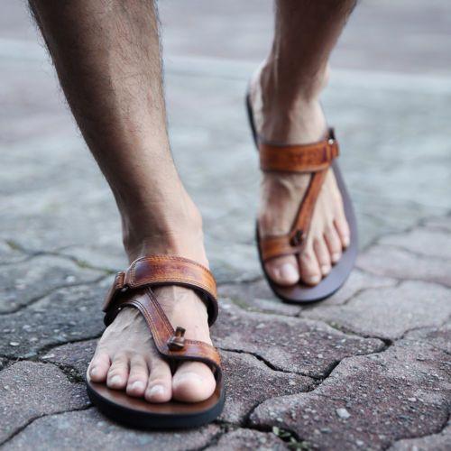 Dark Brown Leather Mens Sandals Handmade Roman Jesus Ankle