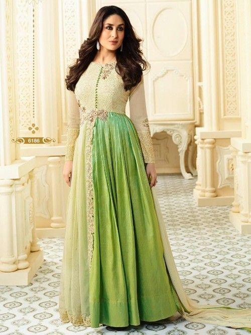 Kareena Kapoor Green And Blue Anarkali Salwar Suit  |Kareena In Green Anarkali Dress