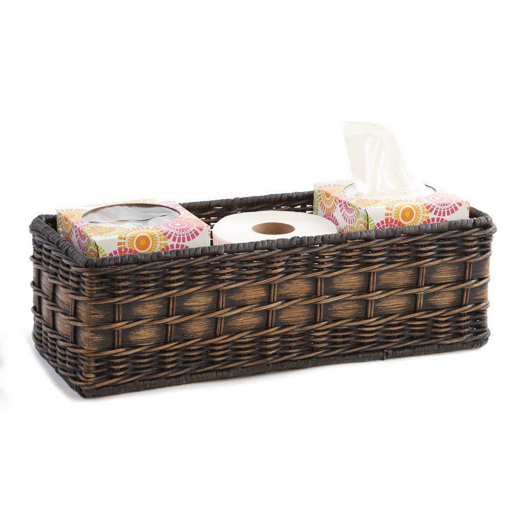 Wicker Toilet Tank Basket Bathroom Basket Storage Toilet Tank Storage Baskets