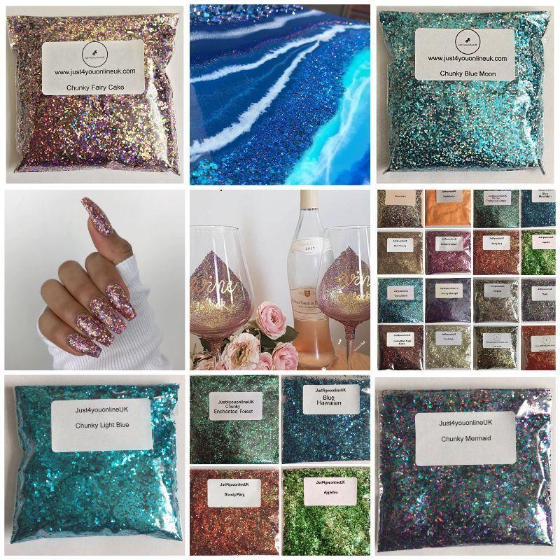 Chunky Glitter Nail Art Resin Craft Wine Glass Paint Bags