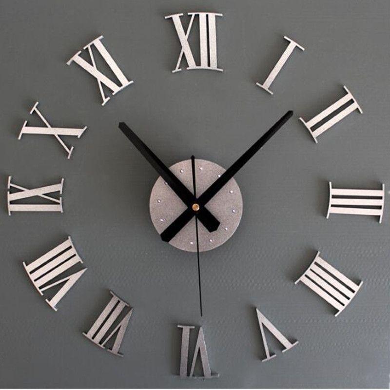 3D Diy Wall Clock Mirror Large Wall Clock Modern design Wall Watches Quartz Needle Roman Number Wall Clocks