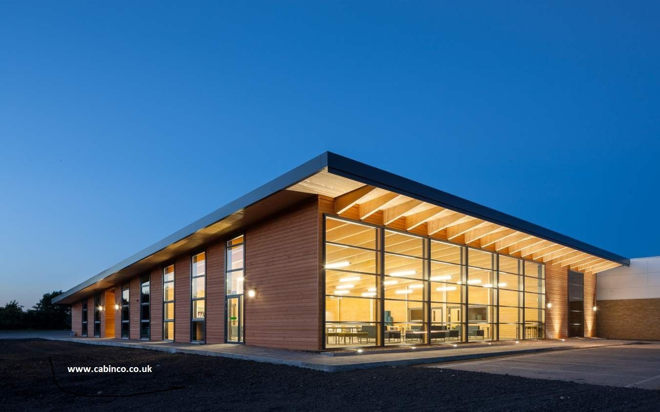 Another by JZA of the Ockendon Studio School showing the curtain glazing lit up at dusk