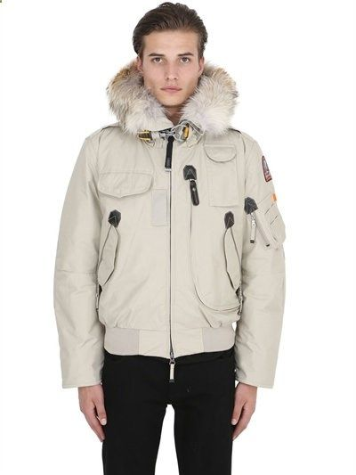 PARAJUMPERS - GOBI DOWN BOMBER JACKET W/ COYOTE FUR - LUISAVIAROMA - LUXURY SHOPPING WORLDWIDE
