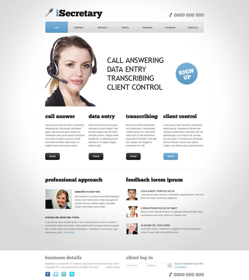 9 psds home client logged in company services prices feedback vacancies contact privacy policy do free virtual assistant website template