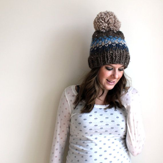 Chunky Knit Slouchy Hat Pom Fair Isle- Ellicott Hat $40
