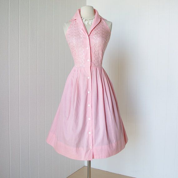 37d6c118b96 vintage 1950 dress ...never worn PRINCE CHARMERS embroidered pink cotton  collared halter full skirt pin-up shirtwaist dress via Etsy