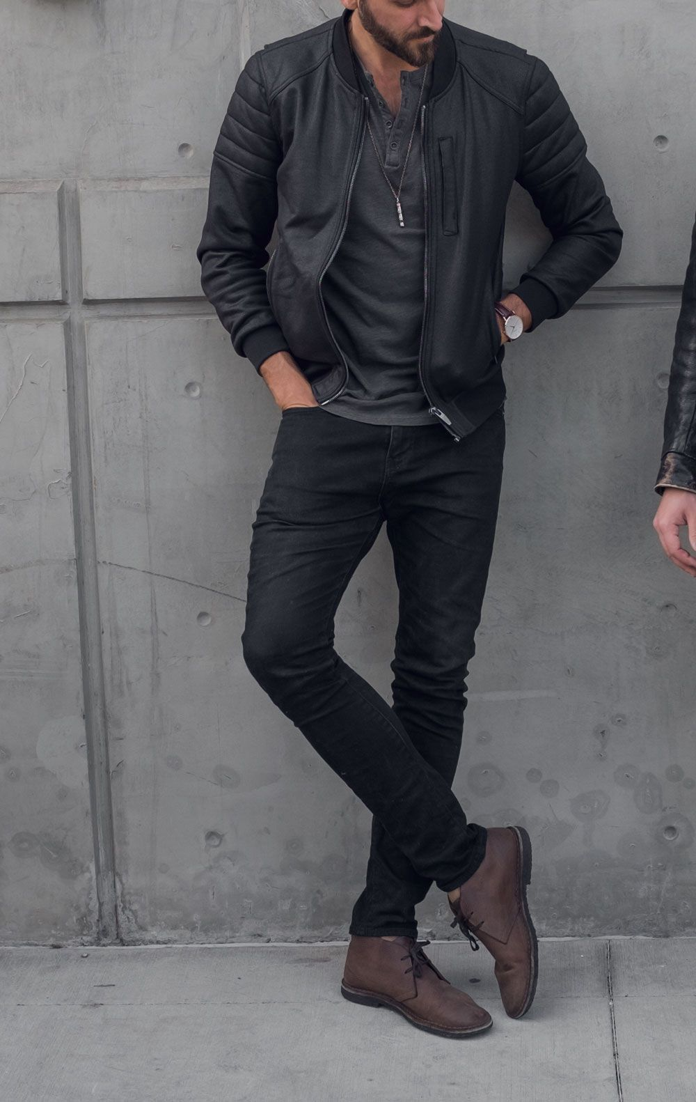 black jeans brown boots outfit mens
