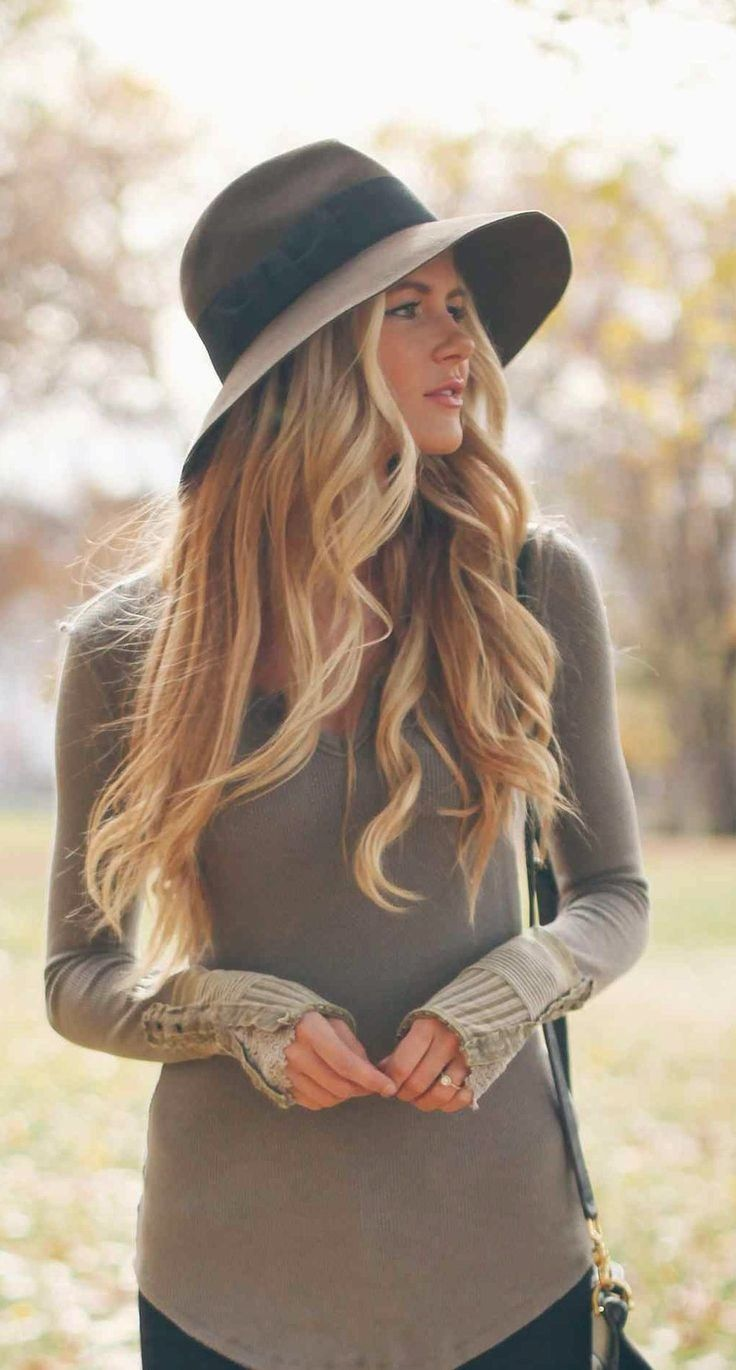 Gorgeous blonde hair looks great under a stylish winter hat!  newyearhair 46a5de8de27