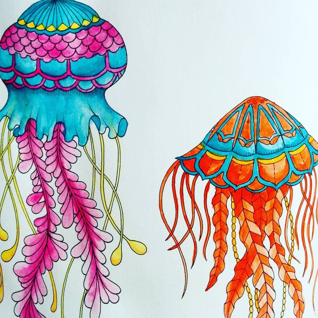 Shady As On Instagram Experimenting With Water Colours In My Lost Ocean Colouring Book Shady Lost Ocean Coloring Book Colorful Jellyfish Jellyfish Drawing