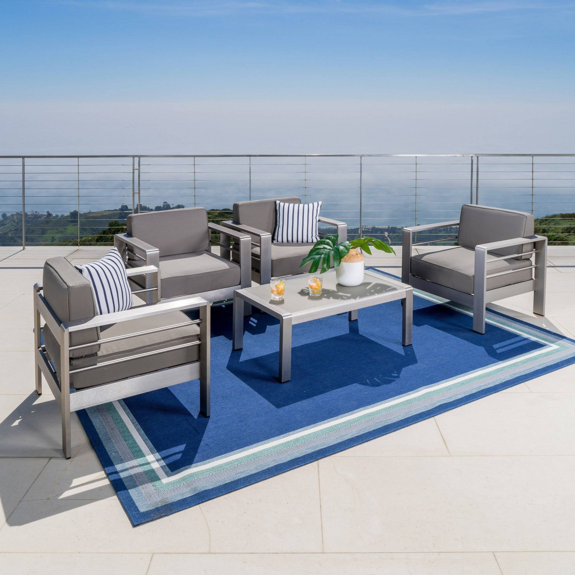 Cape Coral 5pc Aluminum Seating Set Khaki Christopher Knight Home Patio Furniture Sets Outdoor Furniture Sets Furniture Sets