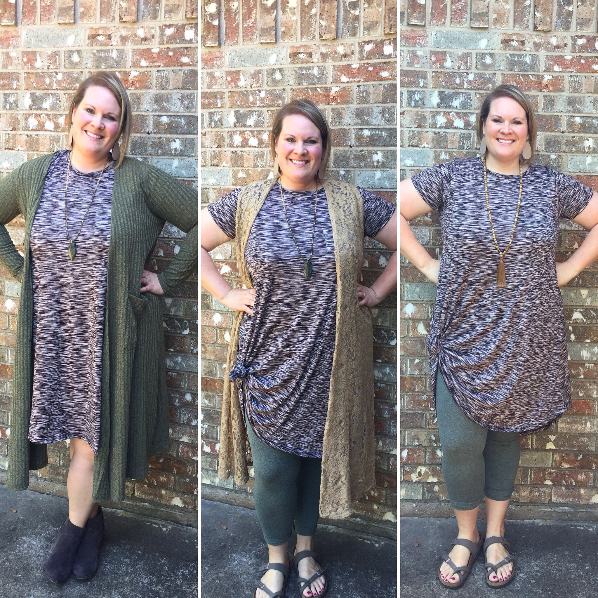 3e2287ba4c413c 3 ways to wear LuLaRoe Carly dress: Sarah and booties, leggings and Joy,  and with Birkenstock and leggings.