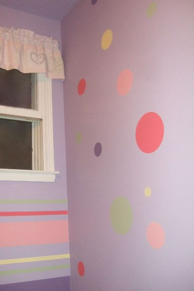 How to paint polka dots on the walls - Lauren & Addie\'s room ...