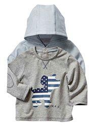 Lot de 2 T-shirts rayé + uni bébé garçon  - vertbaudet enfant