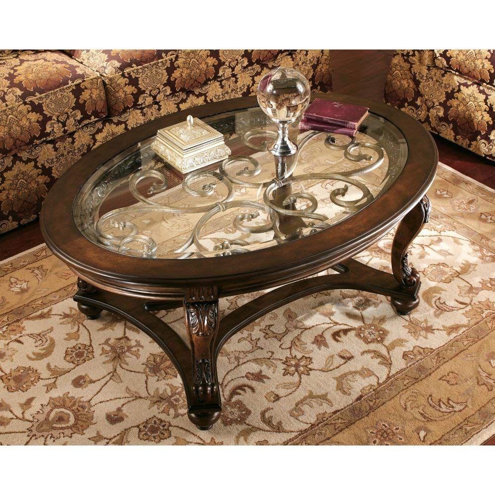 Ashley Furniture Signature Design Norcastle Glass Top Coffee