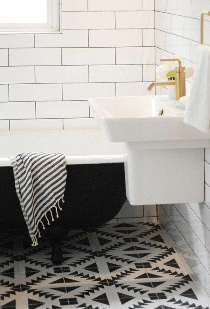 Vous cherchez des idées pour un carrelage noir et blanc? On vous les - image carrelage salle de bain