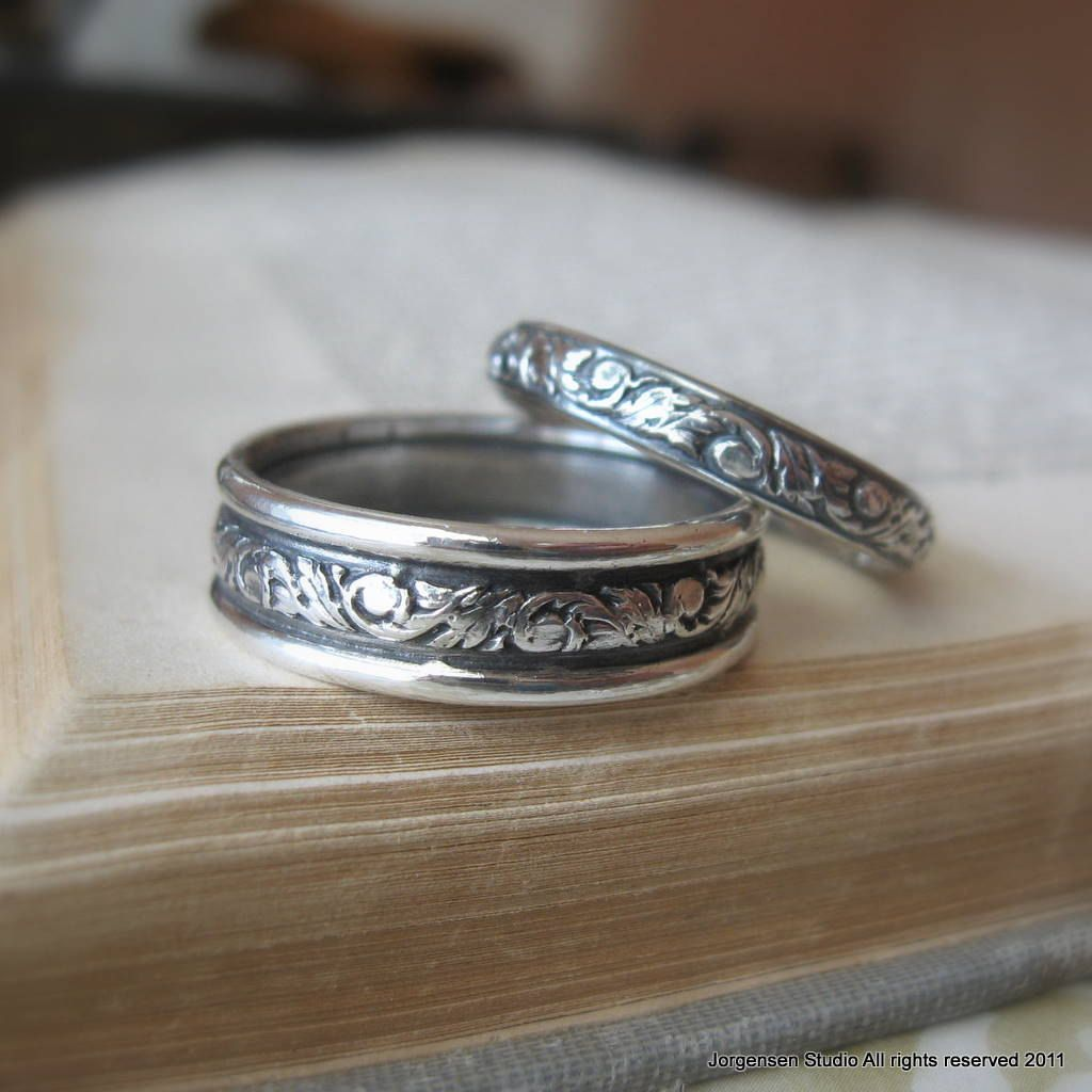 Sterling Silver Wedding Bands | His And Hers Bands Matching Wedding Bands Silver Wedding Band Set