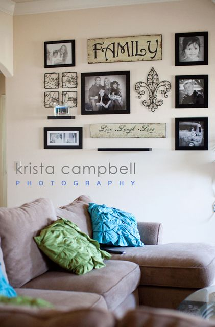 Colorful ways to display your pictures on your walls photography pinterest wall decor for Living room wall decor pictures