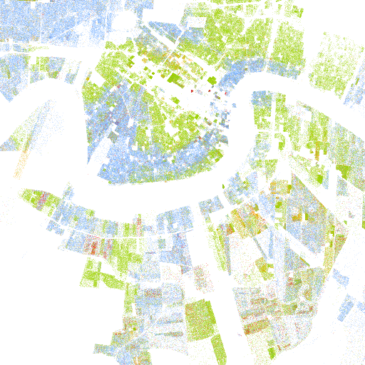 New Orleans The Racial Dot Map One Dot Per Person For The Entire - New orleans on a us map