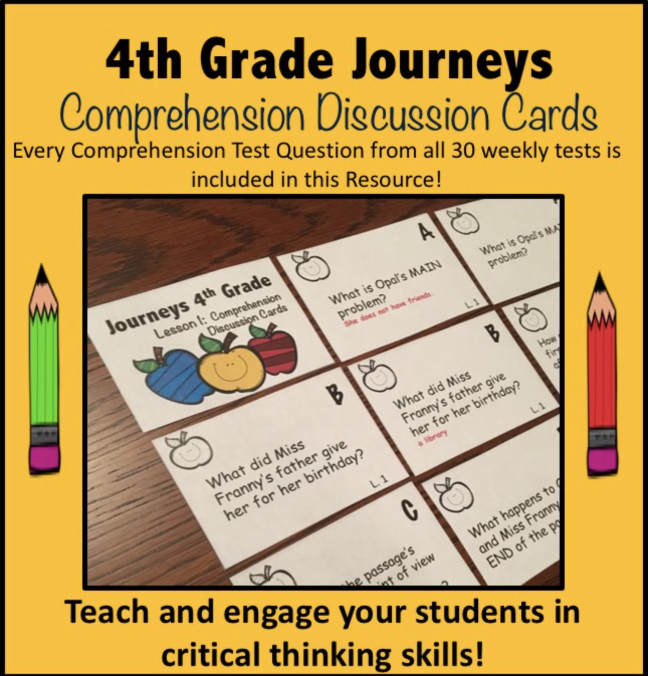 4th Grade Journeys Comprehension Cards
