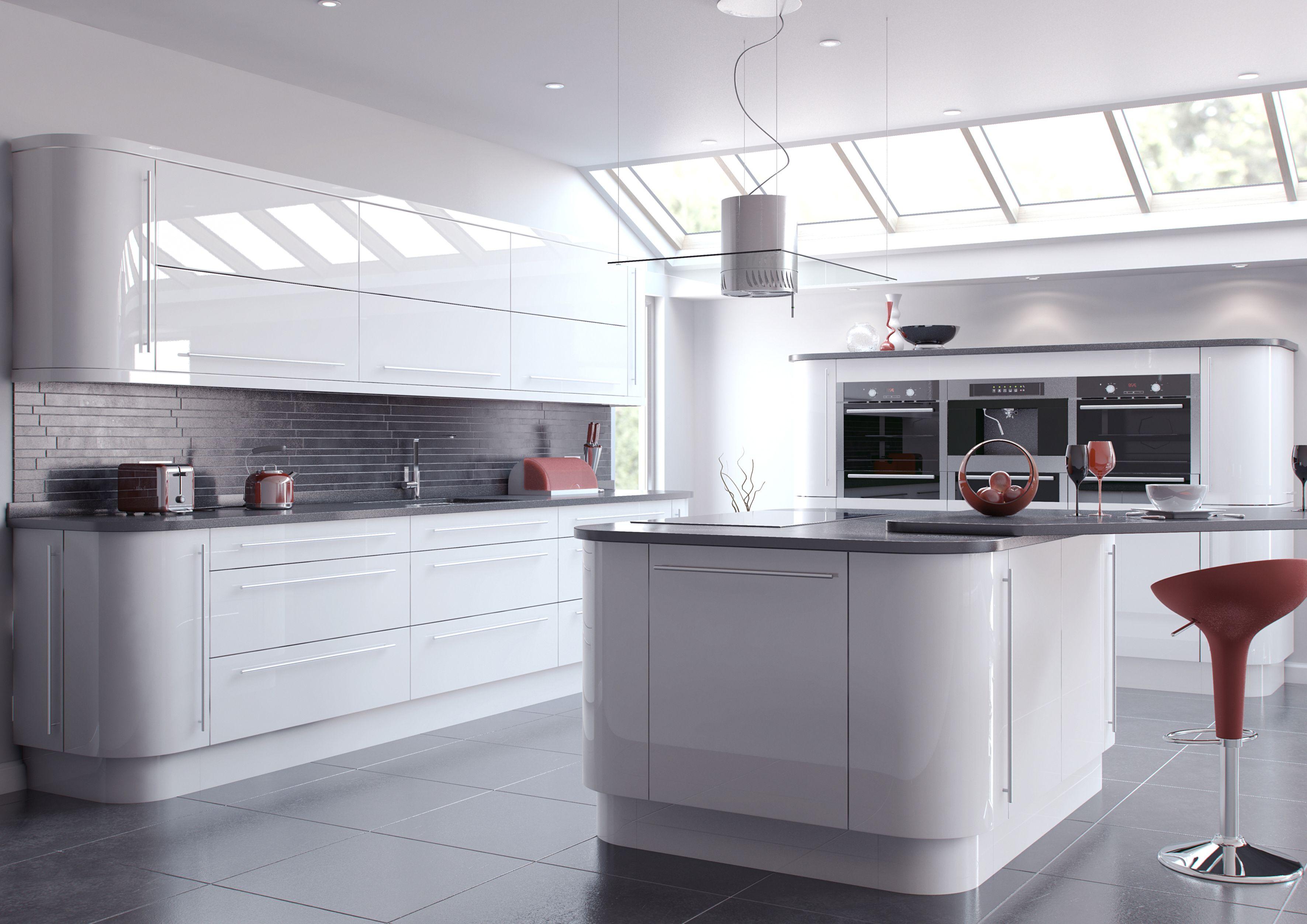Image Result For White Kitchen Cupboard Doors Moderne Weisse Kuchen Grauer Kuchenboden Glanzkuche