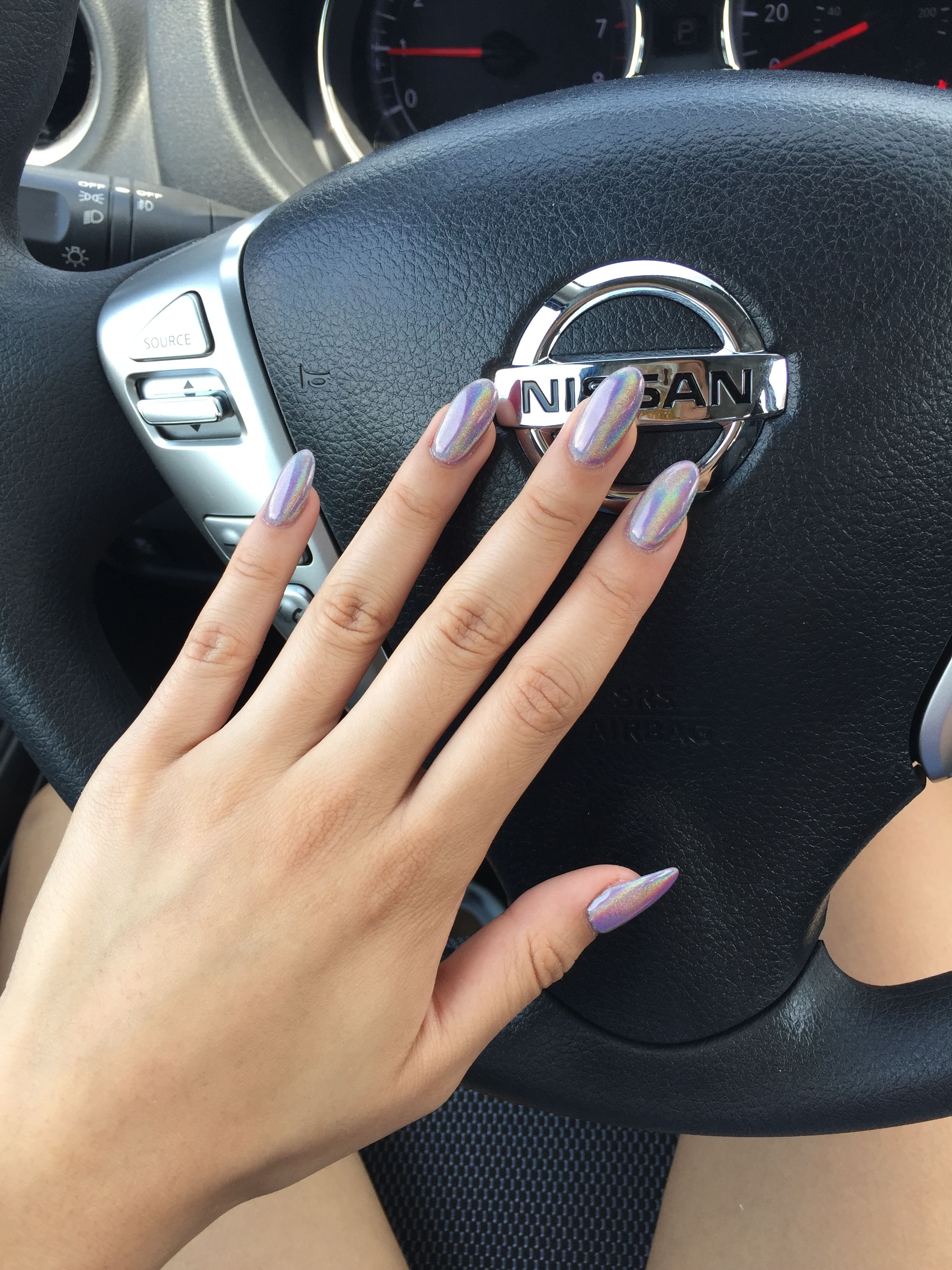 Holographic Chrome Powder Over Shorts Story By Opi Dip Powder Nails With Gel Polish If Ur