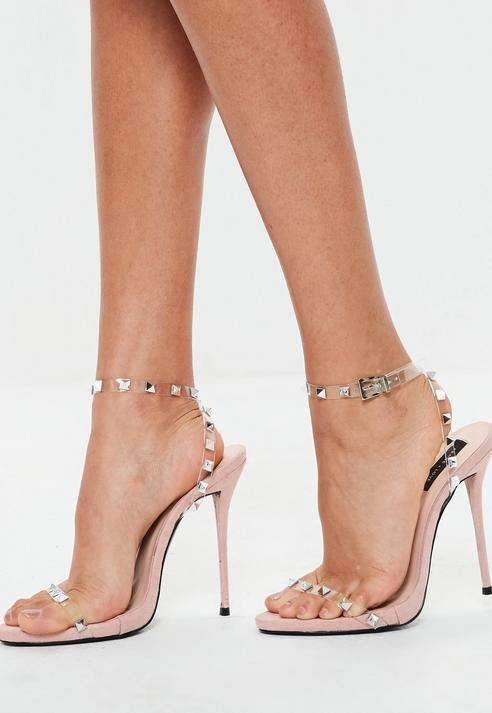 6dad0708753 Missguided Nude Studded Clear Strap Heeled Sandals