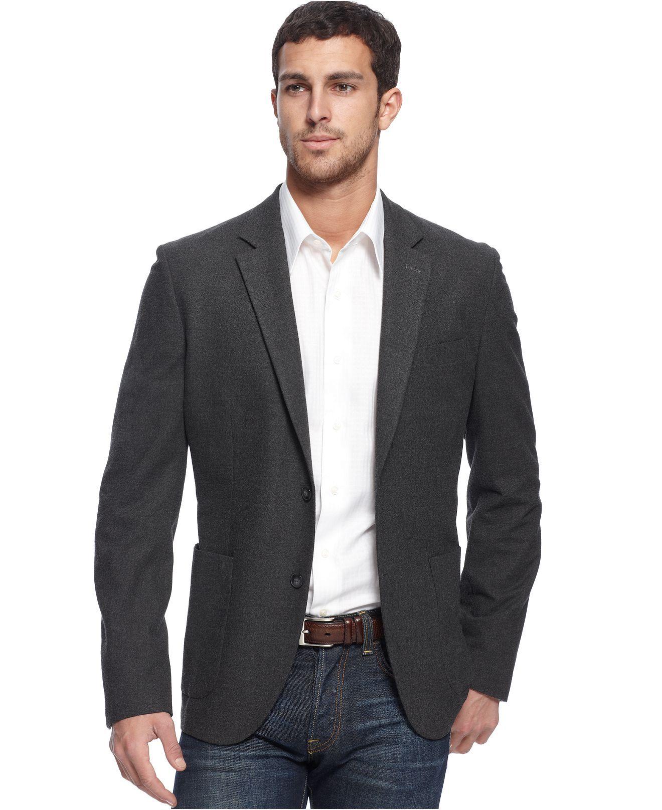 Calvin Klein Jacket, Charcoal Flannel Slim Fit Blazer - Mens ...