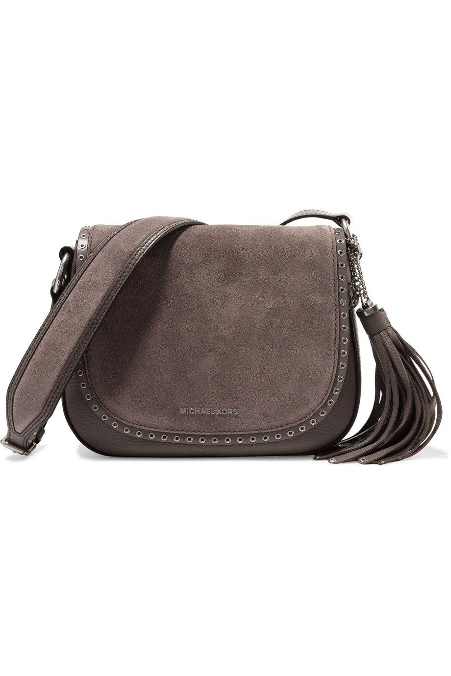 eff2cb8b1705 Shop on-sale MICHAEL Michael Kors Brooklyn embellished suede and  textured-leather shoulder bag. Browse other discount designer Shoulder Bags    more on The ...