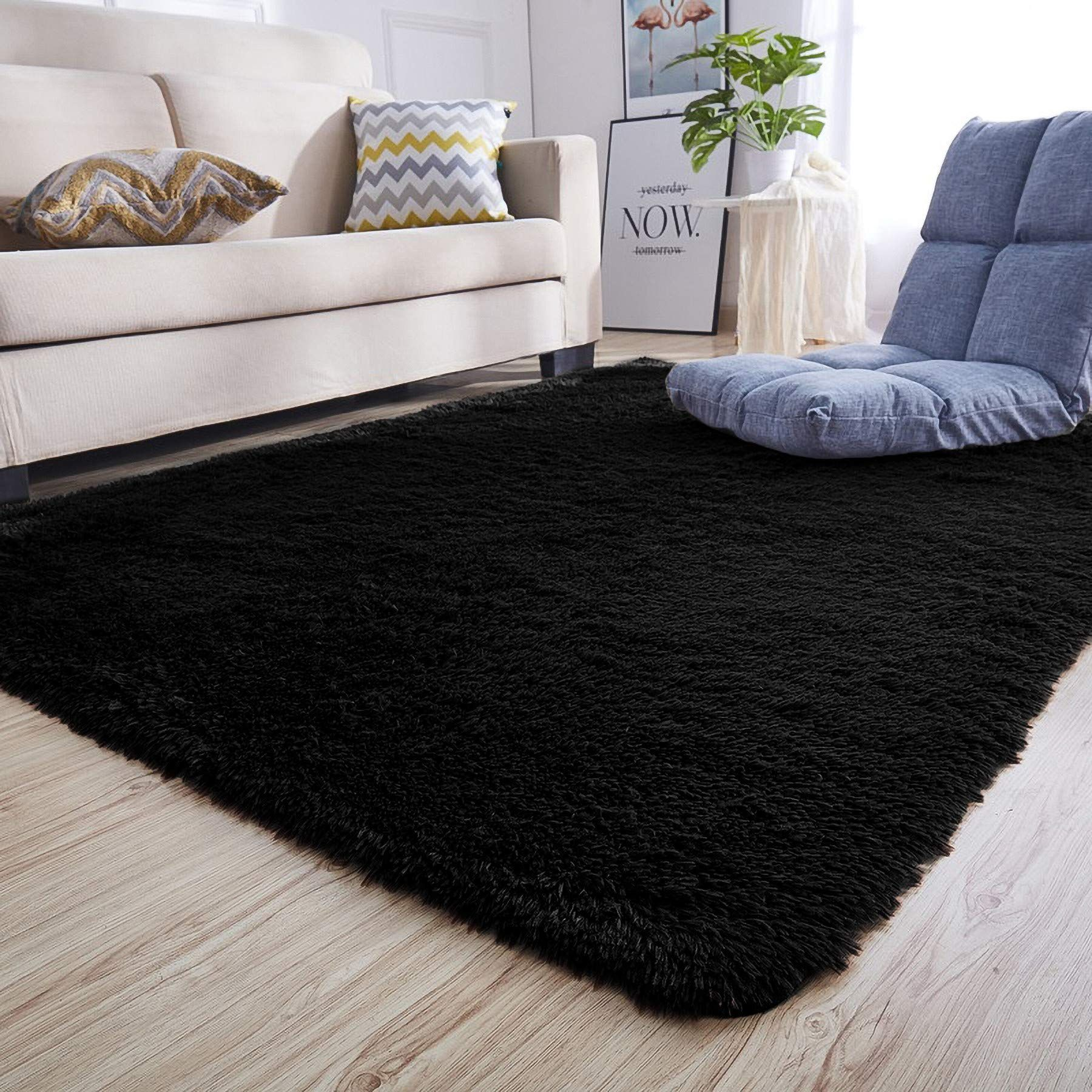 Junovo Rectangle Ultra Soft Area Rugs Fluffy Carpets For Bedroom