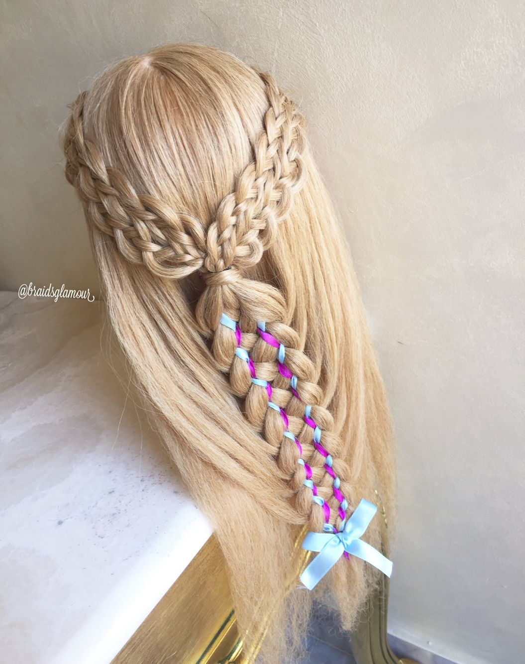 8 strand braids into 9 strand Dutch ribbon braid | My ...