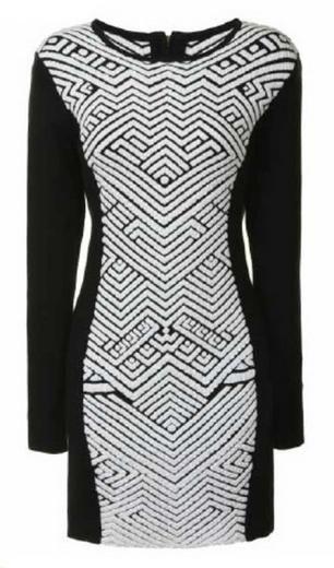 Glamorous Black & White Panel Fitted Dress: Black/White