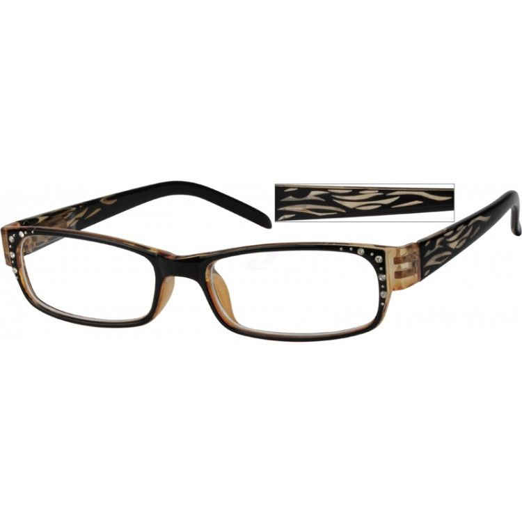 A medium size, plastic fashion full-rim frame with sparkling crystals design and spring hinges.