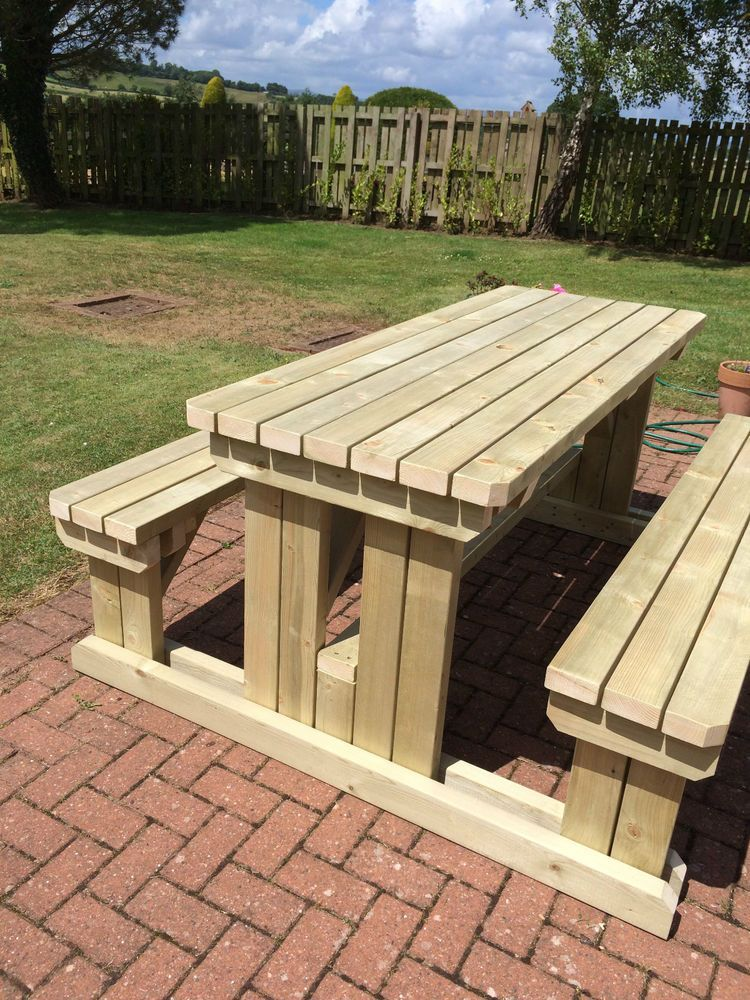 Heavy Duty Wooden Walk In Garden Pub Picnic Table In 2020 Diy Picnic Table Wooden Garden Table Wooden Picnic Tables