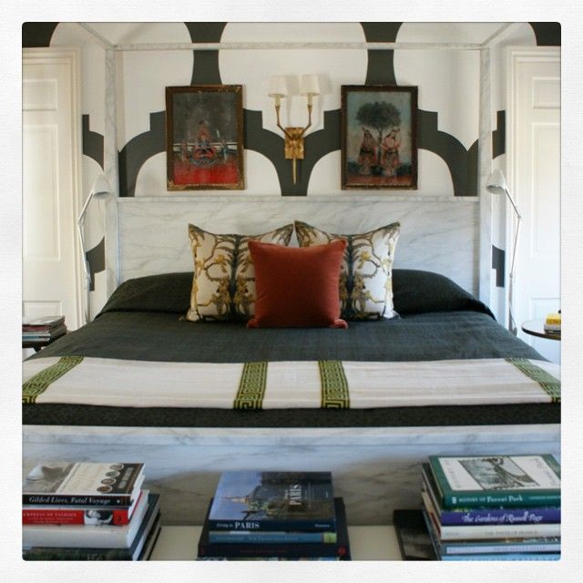 The master bedroom of my home, featured in the July/August issue of @VerandaMag, includes a four-poster bed from @crateandbarrel in a custom faux marbre finish, a Moorish-inspired pattern painted on the walls, antique Indian reverse glass  paintings (which inspired the color palette of the room), and custom pillows and bedding in #christianliaigre, #jimthompson, @rogersandgoffigon, and #clarencehouse fabrics. #interiordesign #verandamagazine #andrewbrownid