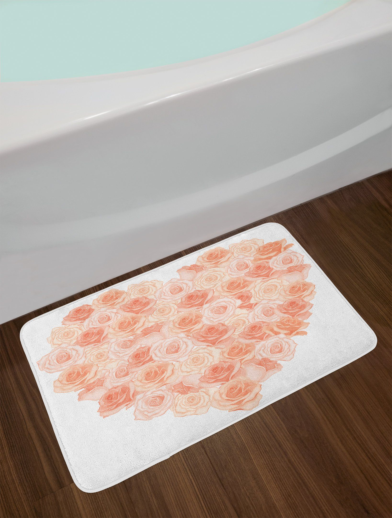 Ambesonne Peach Bath Mat Love Valentines Day Inspired Heart Shaped
