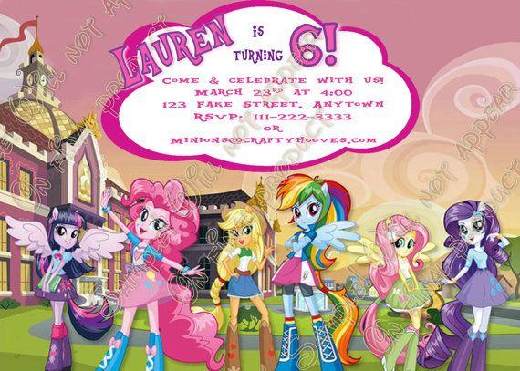 Mi Pequeño Pony Equestria Girls Invitaciones Por